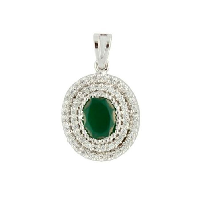 Green Oval shaped  Sterling Silver Pendant