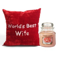 Best Wife Cushion with Yankee Candle