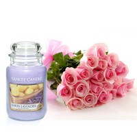 Pink Roses with Candle