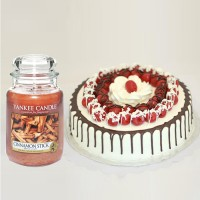 Italian Black Forest Cake with Candle