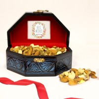 Mix Dry Fruit in a Wooden Box