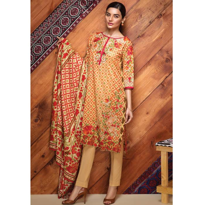 Khaadi Red Flowery Cambric Suit