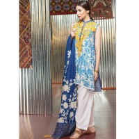 Khaadi Blue Embroidered Cambric Cotton Suit