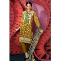 Khaadi Festive Brown Embroidered Cotton Suit