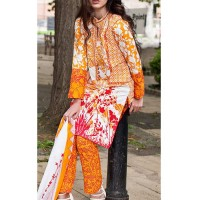 Gul Ahmed Orange Printed Suit