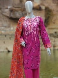 Grape Flower Pink Embroidered Suit by J.