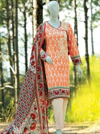 Floral Jaali Orange  Embroidered Suit by J.