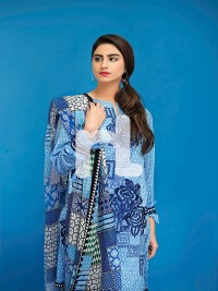 Blue Chequered Embroidered Lawn by NL