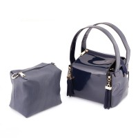 Square Box Shine Blue Handbag