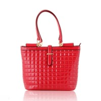 Quilted Drop Handle Red  Bag