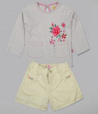 Floral Shirt With Twill  Short