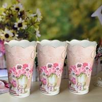 Set of 3 Floral Tin Vases