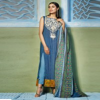 Embroidered Khaadi Blue Lawn Suit
