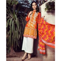 Gul Ahmed Orange Embroidered 3 Pcs Lawn