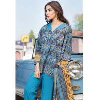Khaadi Printed Blue Lawn Suit