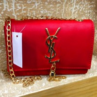 Red Clutch with Thick Gold Chain
