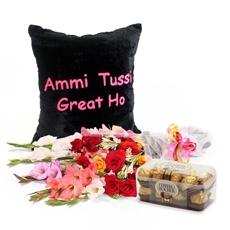 Cushion With Chocolates & Flowers