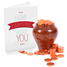 Gold Coins in Wooden Pot with Card