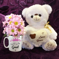 Maa Tussi Great Ho Mug with Daisies & Teddy