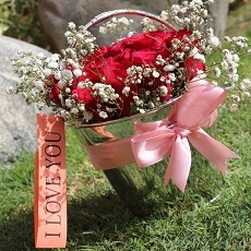 Bucket of Local Red Roses