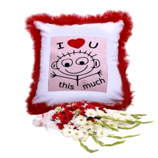 I Love You Cushion With Medium Bouquet