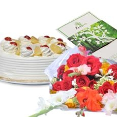 Cake and Flowers(With Free Voucher)