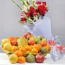Fruit Basket with Large Bouquet